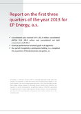 Náhled k PDF EPEnergy as  – Report for the first three quarters of 2013